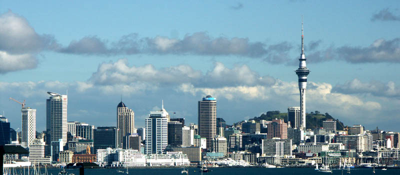 The skyline of Auckland, New Zealand, with the Sky Tower on the right