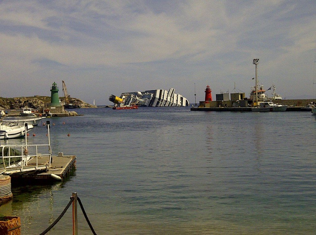 Costa Concordia, wrecked on Isola del Giglio, Italy (source: wiki)