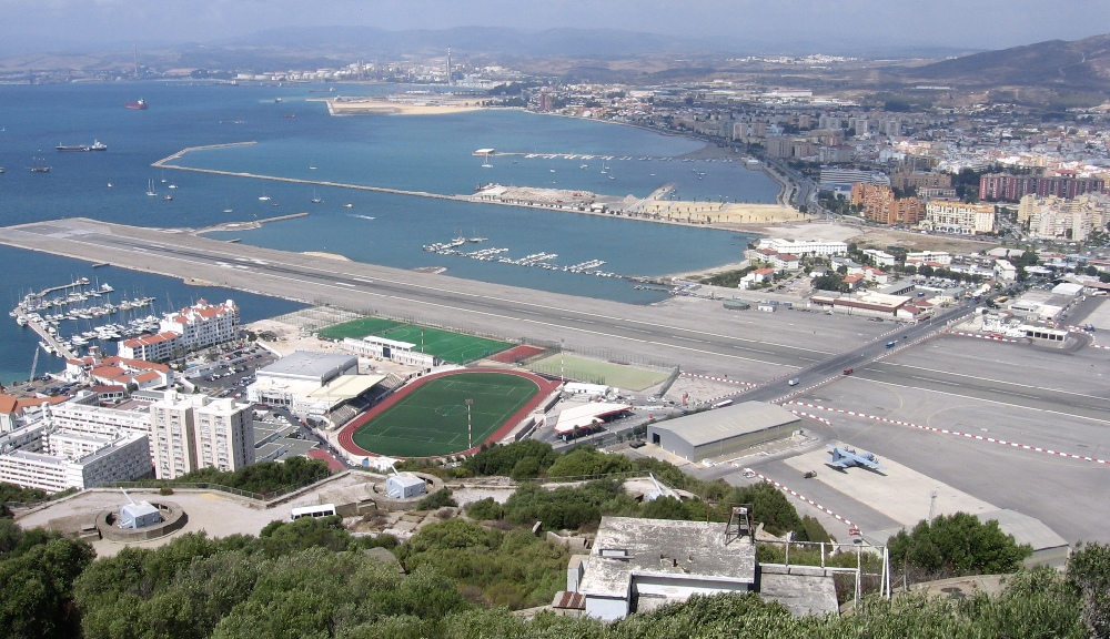 Gibraltar Airport, Gibraltar - the main road of the city goes through the runway