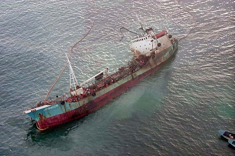 MV Jessica, wrecked on Galapagos Islands (source: wiki)