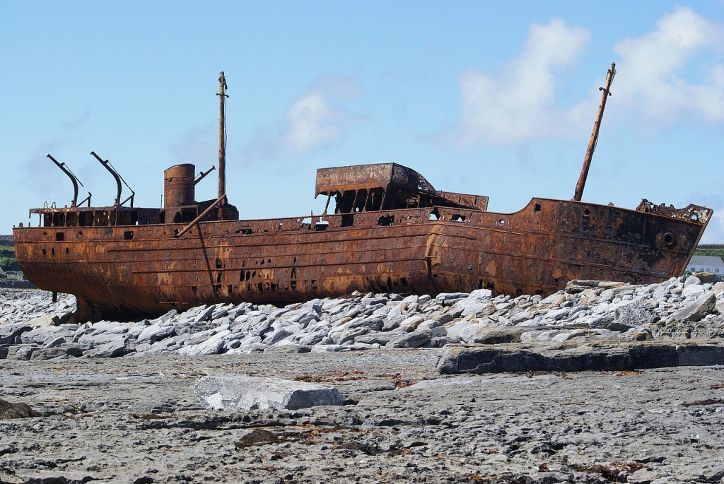 MV Plassey, wrecked on Inisheer, Aran Islands, Ireland (source: wiki)