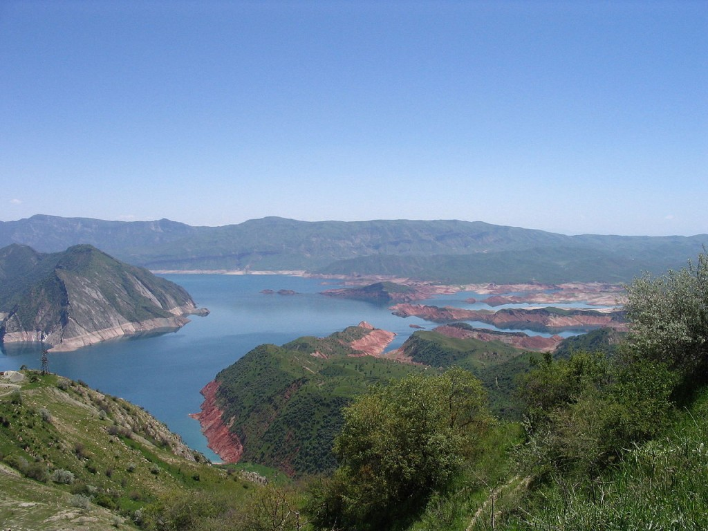 The Nurek Reservoir created by the Nurek Dam