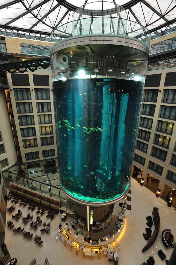 AquaDom, Berlin - take an elevator ride from within an aquarium