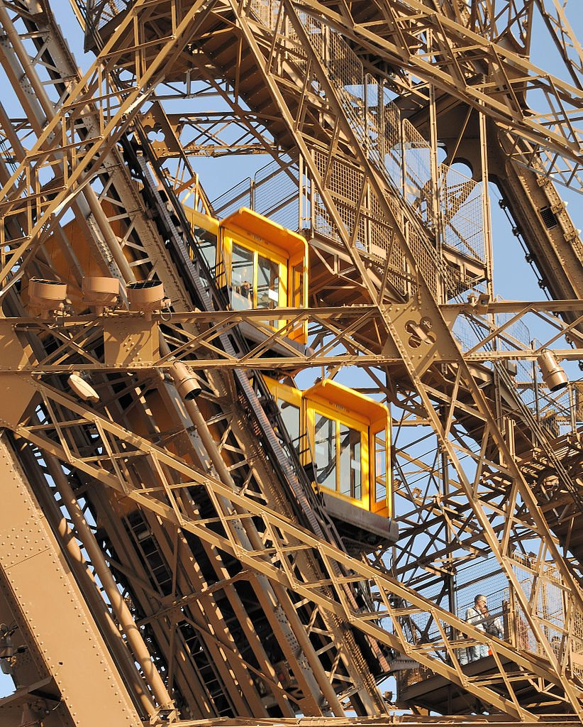 The elevators running on the Eiffel's legs