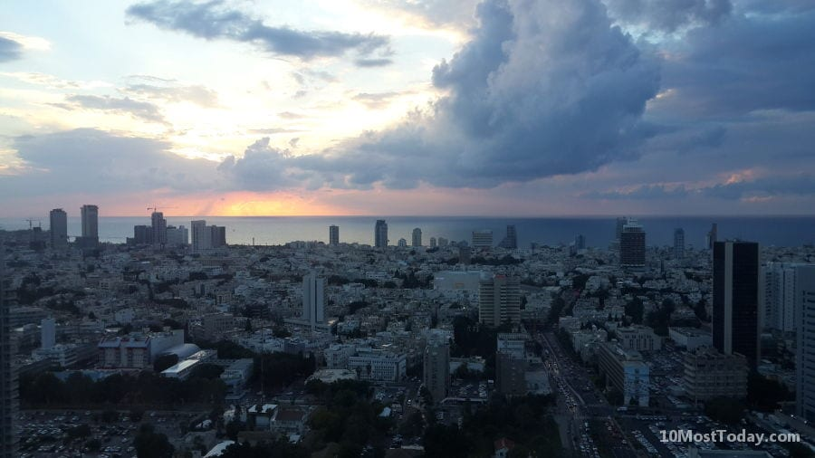 Tel Aviv at sunset. Tel Aviv is the financial, commercial and cultural center of the country