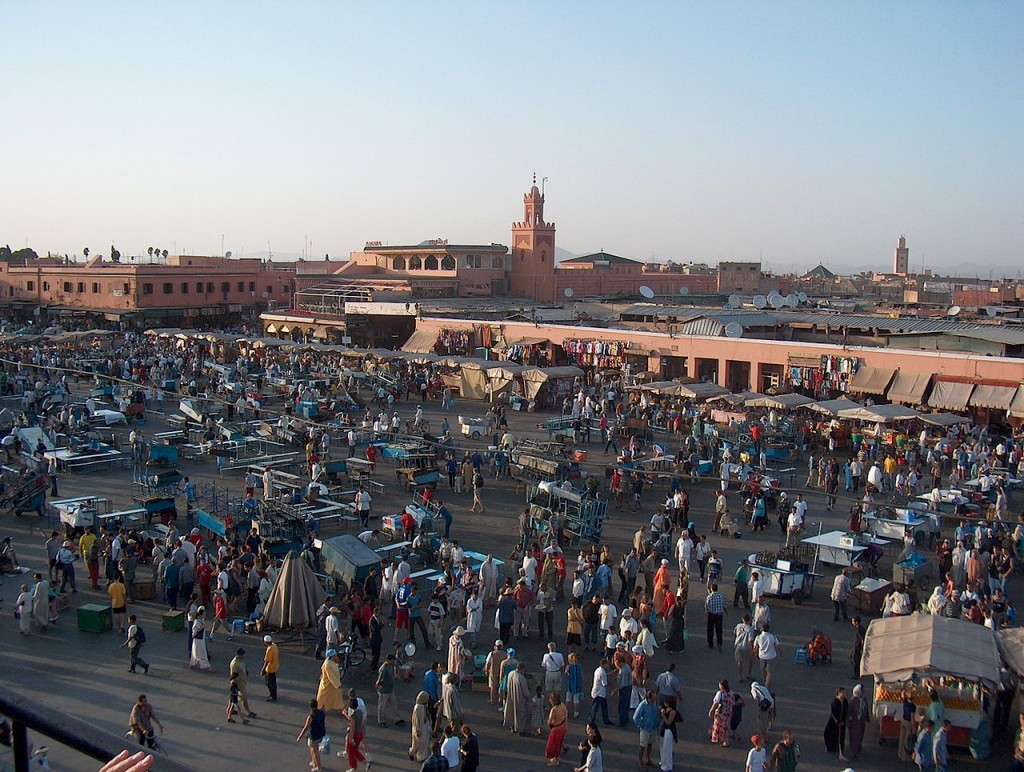 Most Famous City Squares: Djemaa el Fna, Marrakech, Morocco (source: wiki)