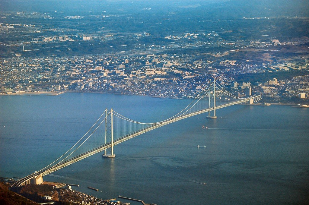 As pontes mais altas do mundo: ponte Akashi-Kaikyo, Japão