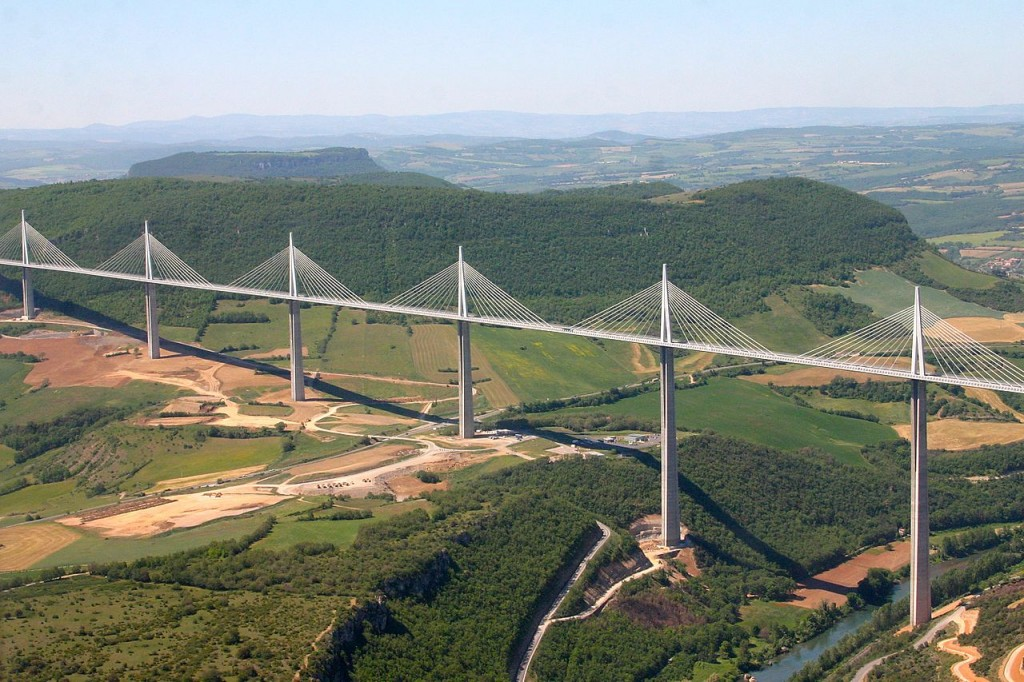 World's highest road: Millau Viaduct Bridge, France