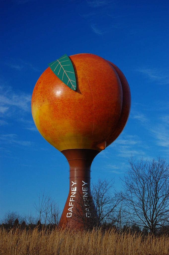 Coolest Water Towers: Peachoid, Gaffney, South Carolina