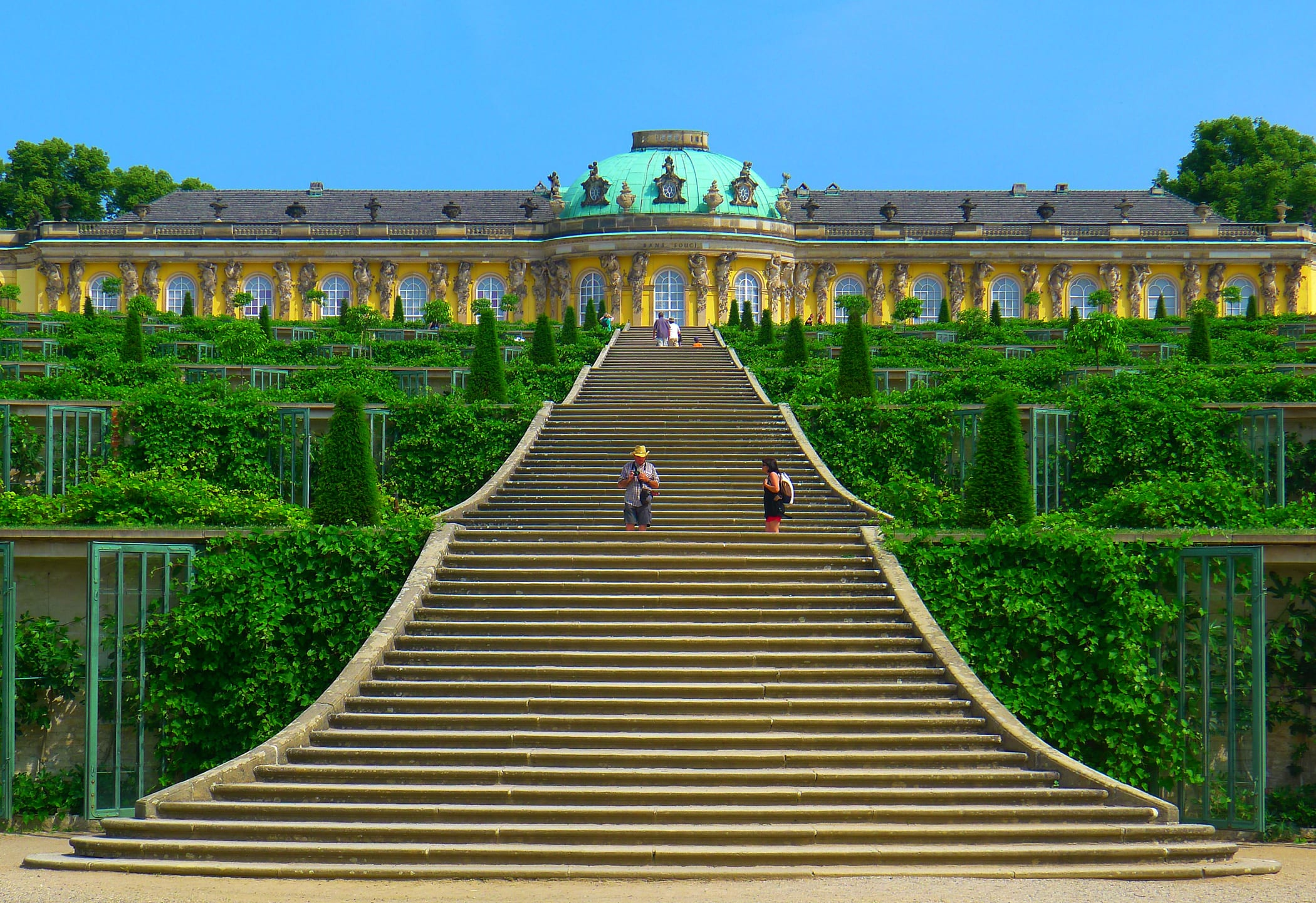 The natural stone steps of a stairway garden feature climb a small - Staircases Worth The Climb Sanssouci Potsdam Germany