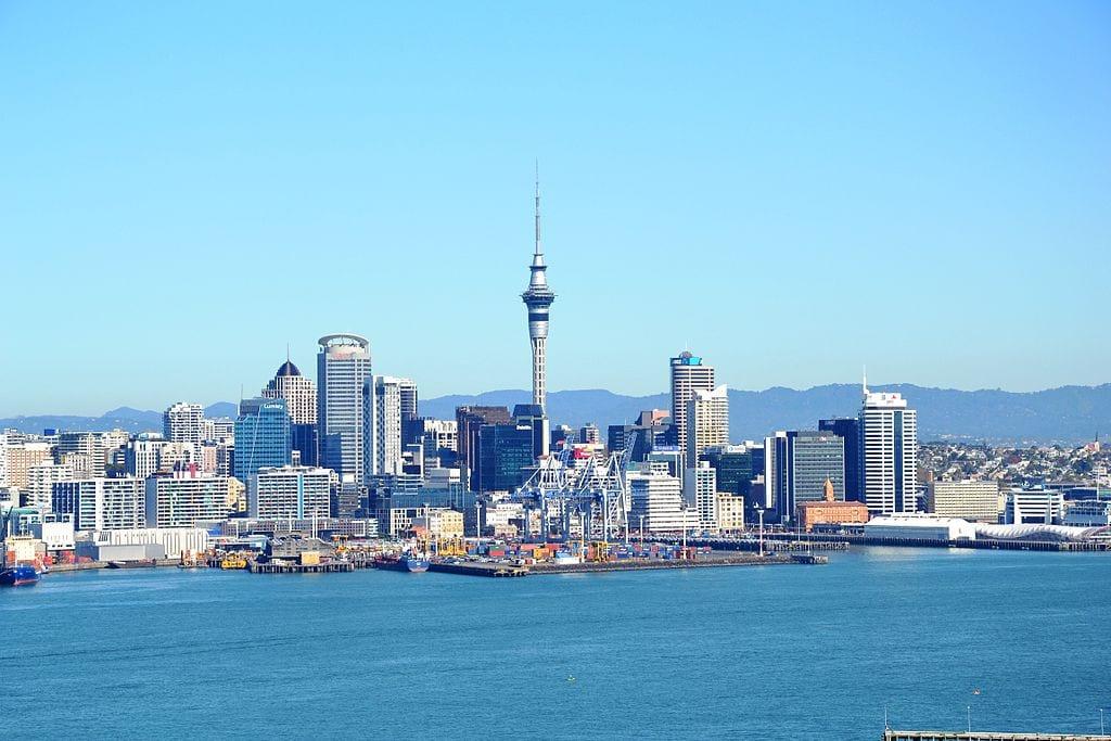 The skyline of Auckland, New Zealand. New Zealand has the 10th longest coastline