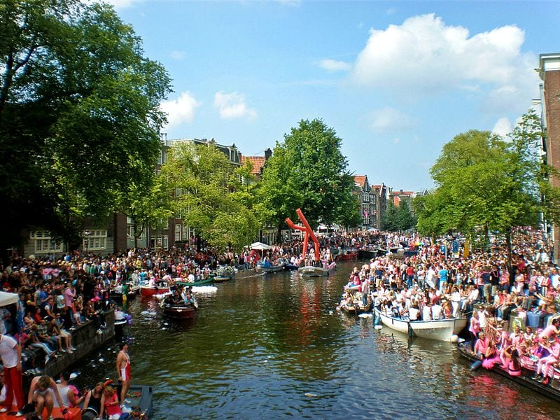 The famous Amsterdam Pride parade