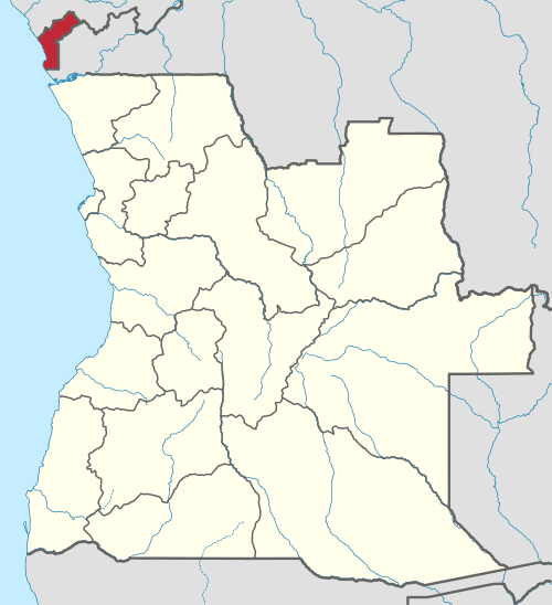 Angola (at the bottom) and Cabdina province (in red) - separated from the rest of the country
