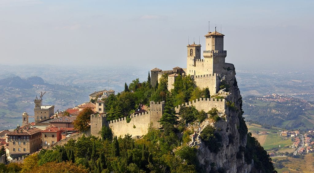 The Fortress of Guaita in San Marino. San Marino is an enclave within Italy