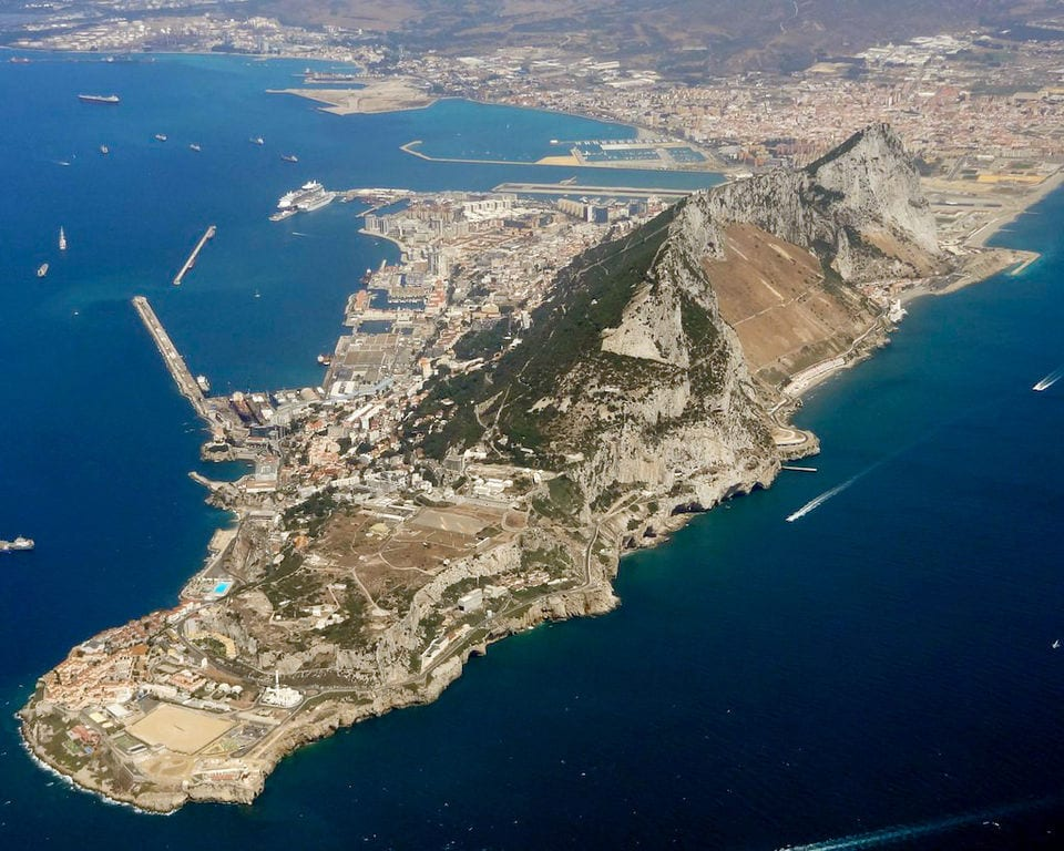 The British area of Gibraltar, bordering with Spain