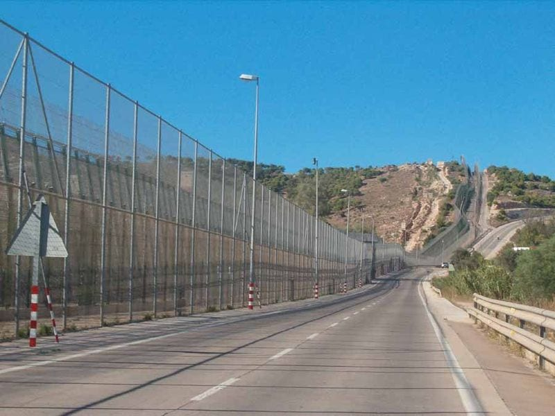 The fences around the Spanish city of Melilla, bordering Morocco