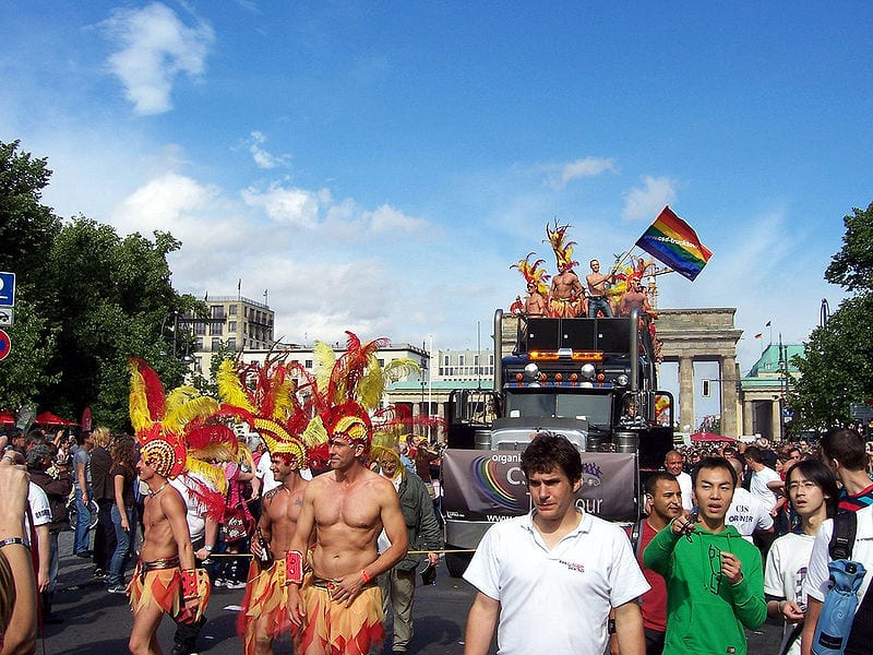 Pride parade in front of Brandenburg Gate, Berlin