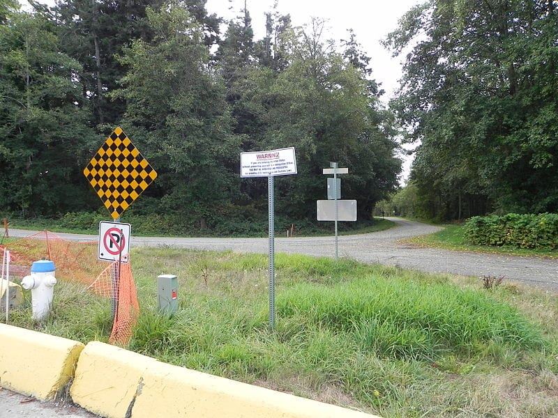 A border point between the United States and Canada in Point Roberts, Washington