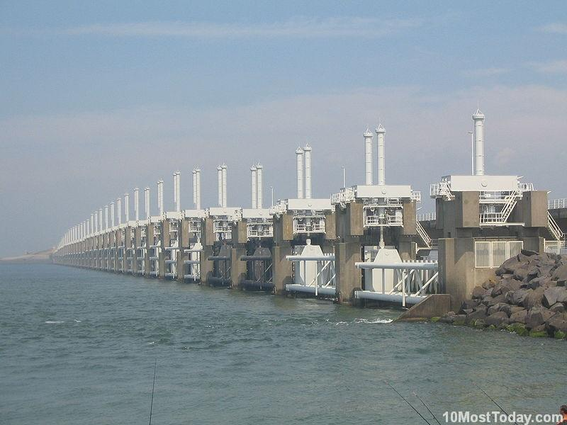 Delta Works flood barrier and the Oosterscheldekering, the Netherlands