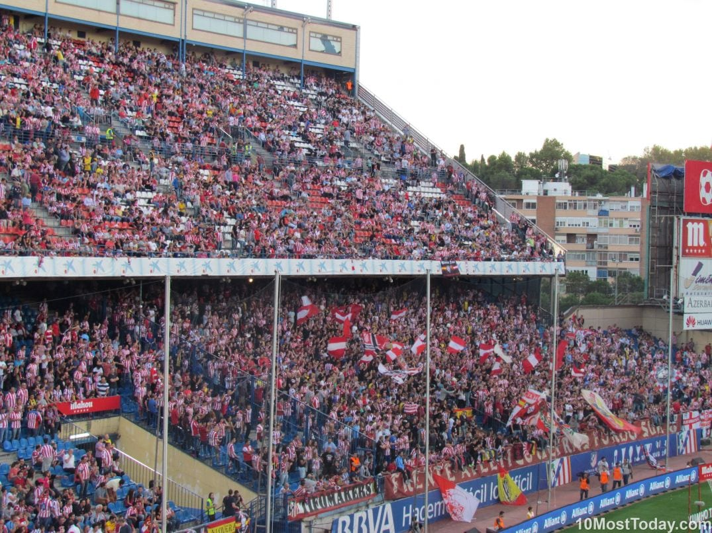 Watching a football game (the Vicente Calderon stadium)