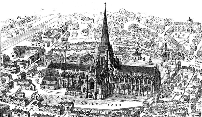 A 1916 engraving of the Old St Paul's Cathedral
