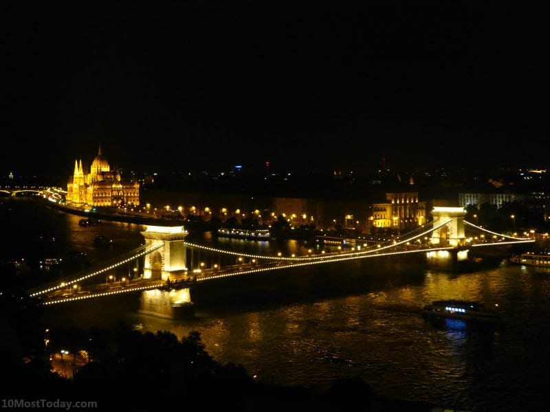 View from castle hill at night. The Chain Bridge and the parliament are beautifully lit