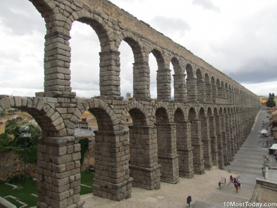 The Roman aqueduct in Segovia, Spain
