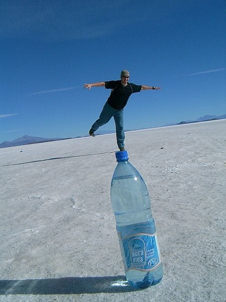 Playing with perspective at the Salt Flats, Bolivia