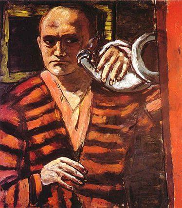 "Max Beckmann - ""Self-portrait with horn"""