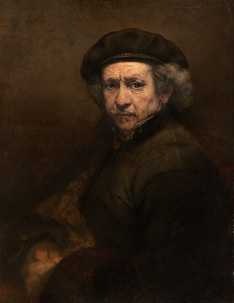 "Rembrandt van Rijn - ""Self-portrait with beret and turned-up collar"""
