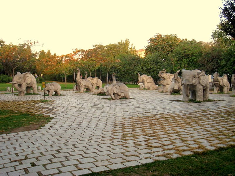 Elephant statues at the Beijing Zoo