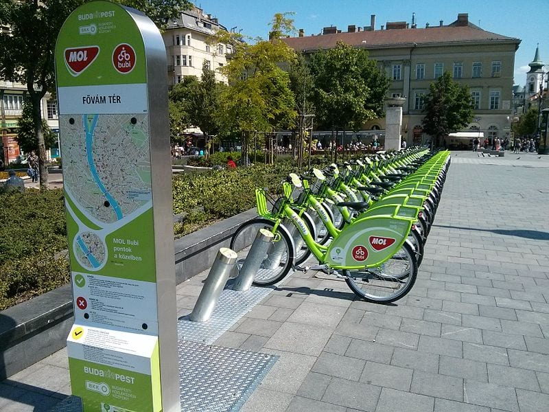 BuBi station in the bicycle-friendly city of Budapest