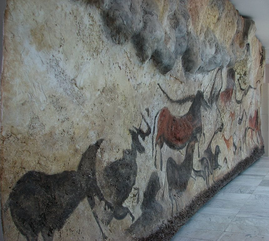 A replica of the Lascaux Cave drawings in the Anthropos museum, Czech Republic