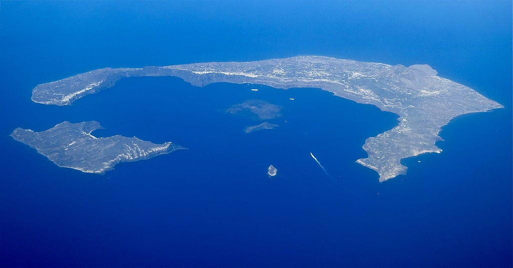 The Santorini Caldera - a suggested location for the submerged Atlantis