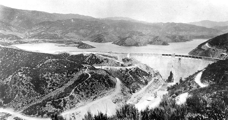 St. Francis Dam in 1927. The flooding of the dam is one of the most famous engineering disasters