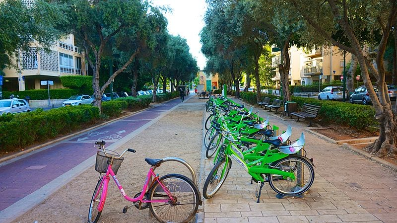 Tel-O-Fun station in Tel Aviv - a bicycle-friendly city