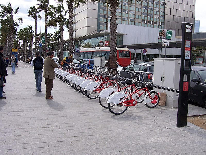 A Bicing station in Barcelona