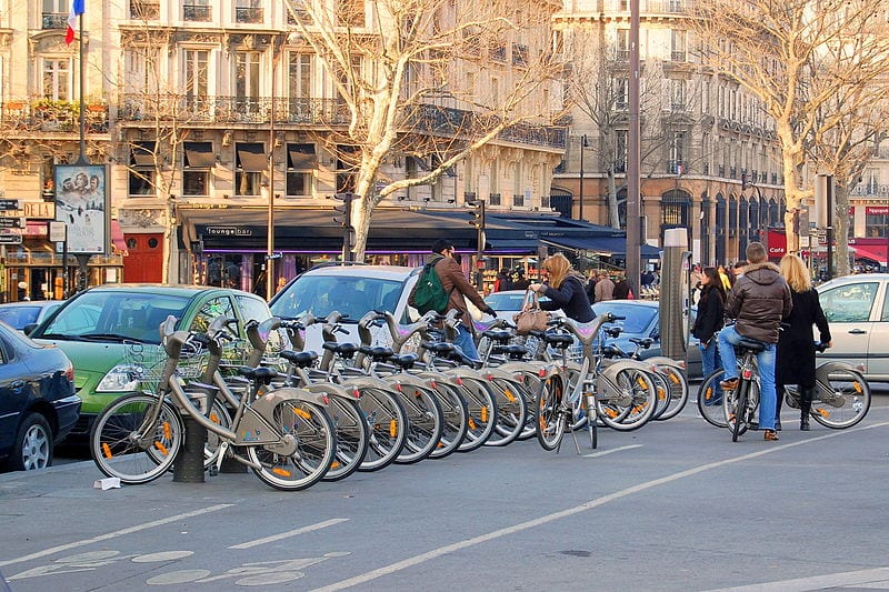 A Vélib' bicycle station in Paris