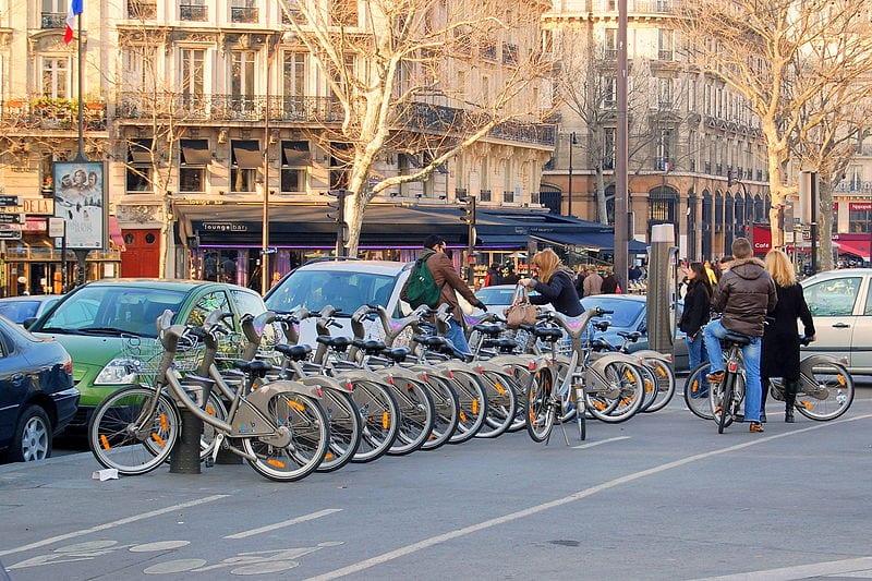 A Vélib' bicycle station in Paris