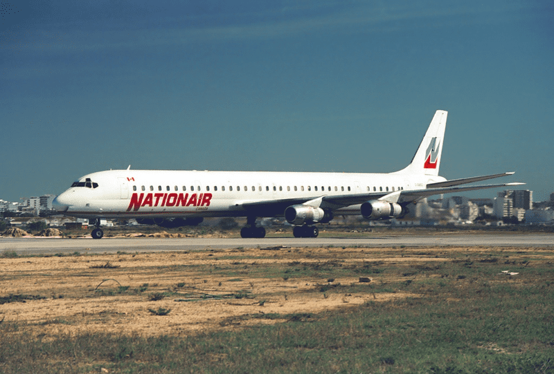 The aircraft that crashed, two years before the accident, at Faro airport