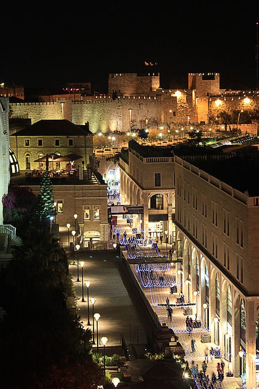 Mamilla mall with the walls of the old city in the background