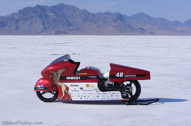 Racing in Bonneville Speedway, Bonneville Salt Flats, Utah