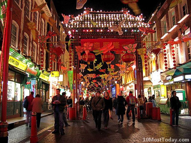 London Chinatown with New Year decoration