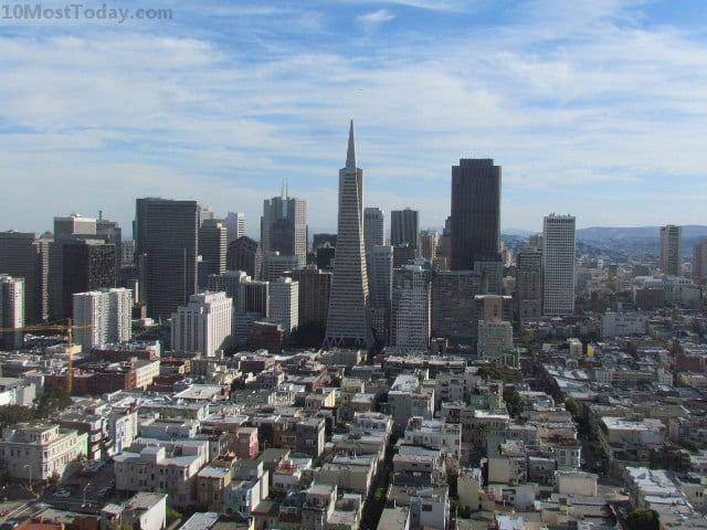 The San Francisco skyline as seen from the top of Coit Tower