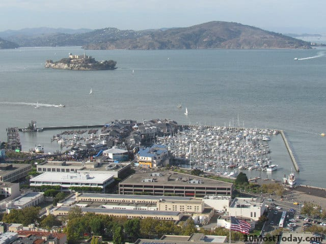 Pier 39 and Alcatraz Island, seen from the top of Coit Tower