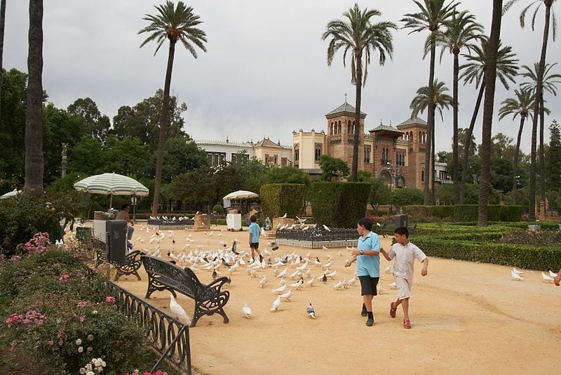 Plaza de América in Maria Luisa Park, with the Museum of Arts and Traditions of Sevilla in the background