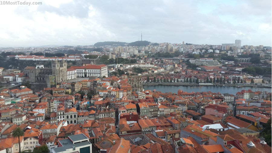 The view from the Torre dos Clérigos, towards the Douro river and the Porto Cathedral