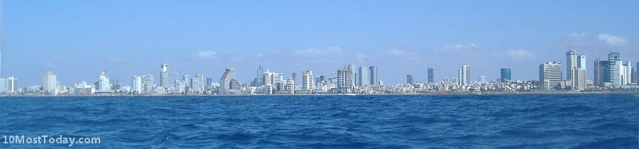 A panoramic view of Tel Aviv from the sea