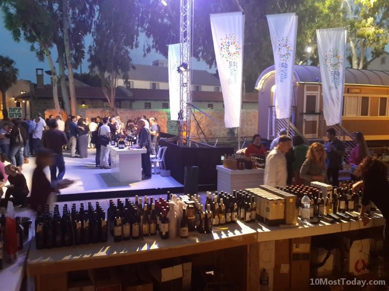 A wine festival at the Jaffa Railway Station (haTachana)