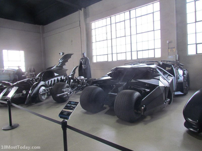 The different Batmobiles. Seen on the Warner Brothers tour